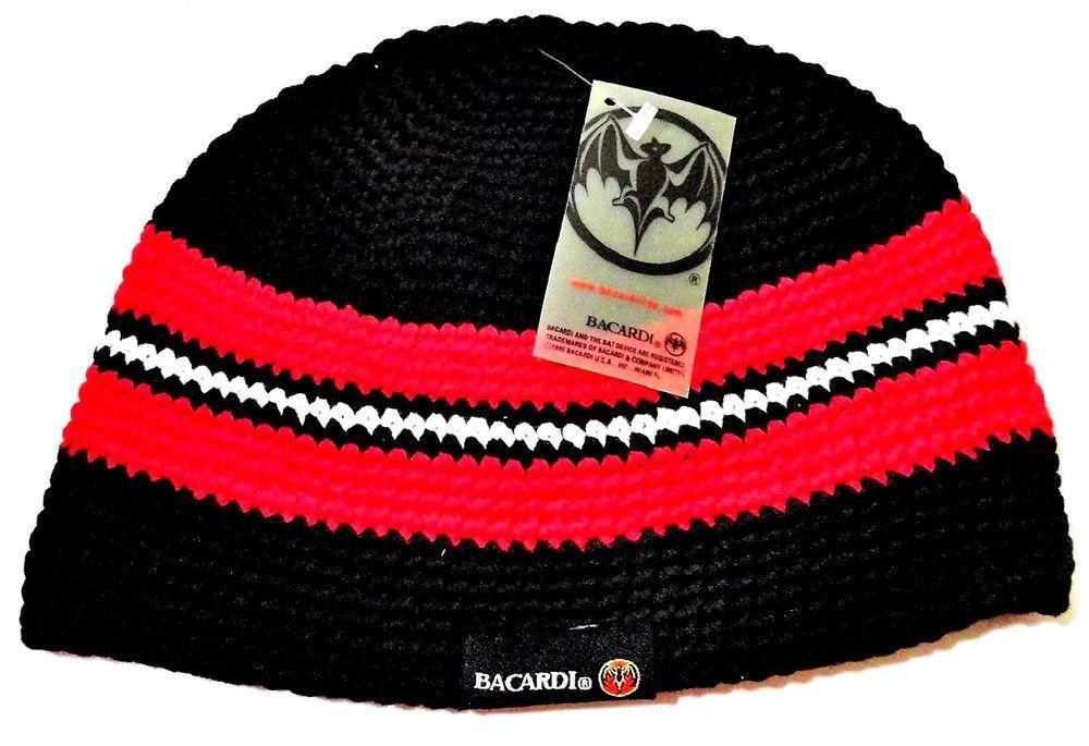 9b5dc244620 Bacardi Men s OSFM Red Black White Striped Beanie Hat NWT  BACARD  Beanie