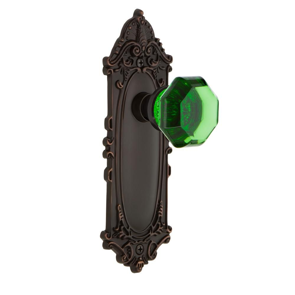 Victorian Plate 2-3/8 in. Backset Timeless Bronze Passage Waldorf Emerald Door Knob