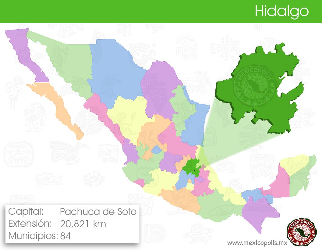 Mapa Ilustrativo De Los Estados De México Y Su Capital Hidalgo