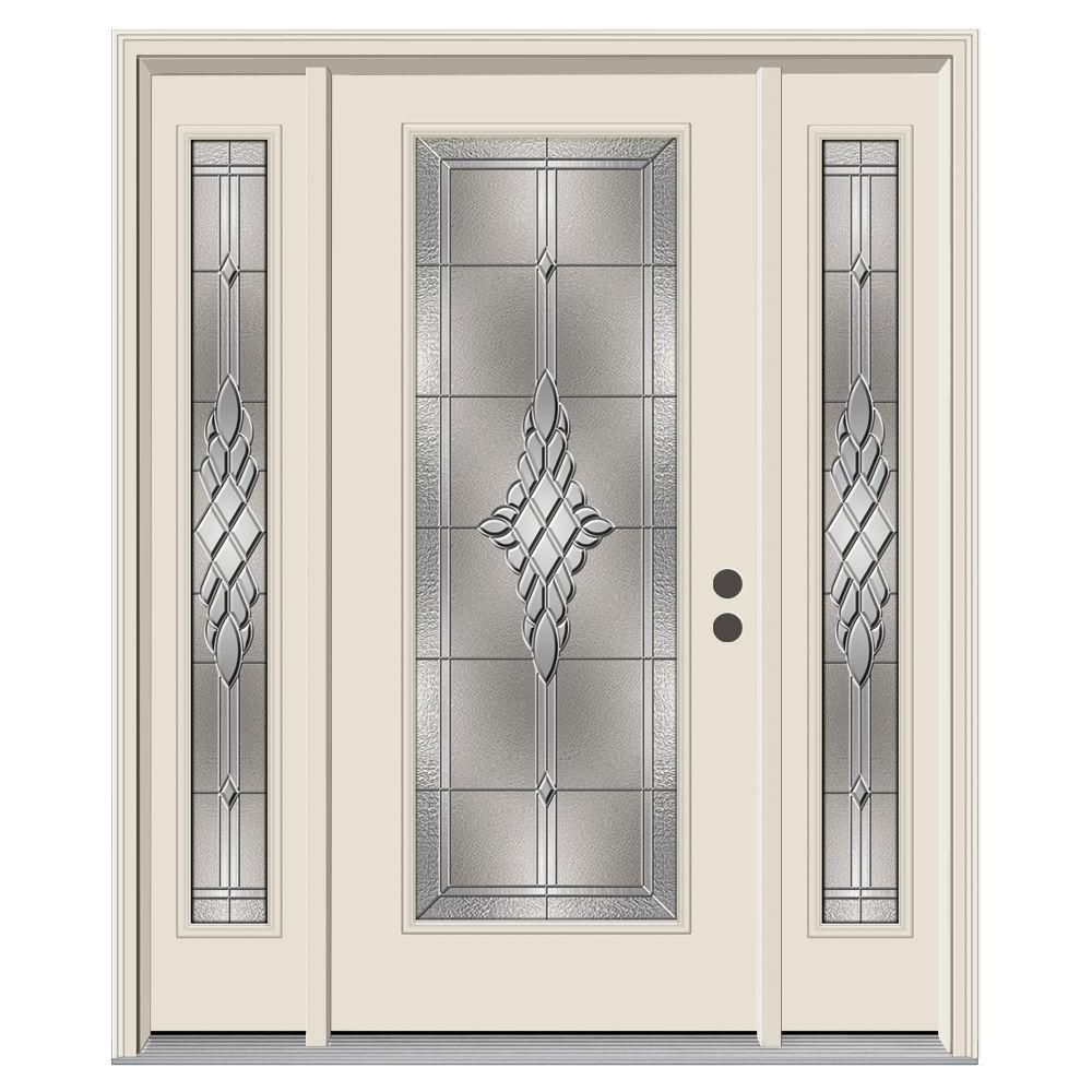 Jeld Wen 62 In X 80 In Full Lite Mission Prairie Primed Steel Prehung Left Hand Inswing Front Door With Sidelites H31397 Front Porch Design Entry Doors Iron Doors