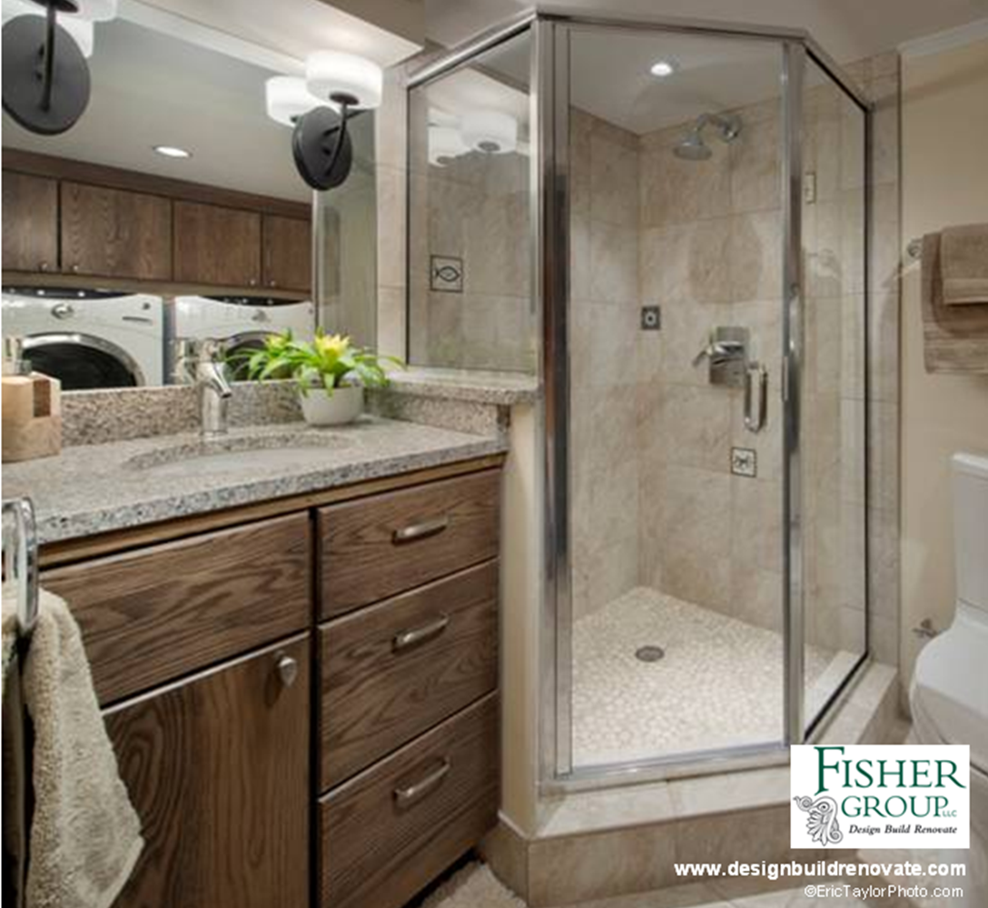 Flooring For Basement Bathroom: Basement Bathroom Remodel. Vanity Cabinets From Greenfield
