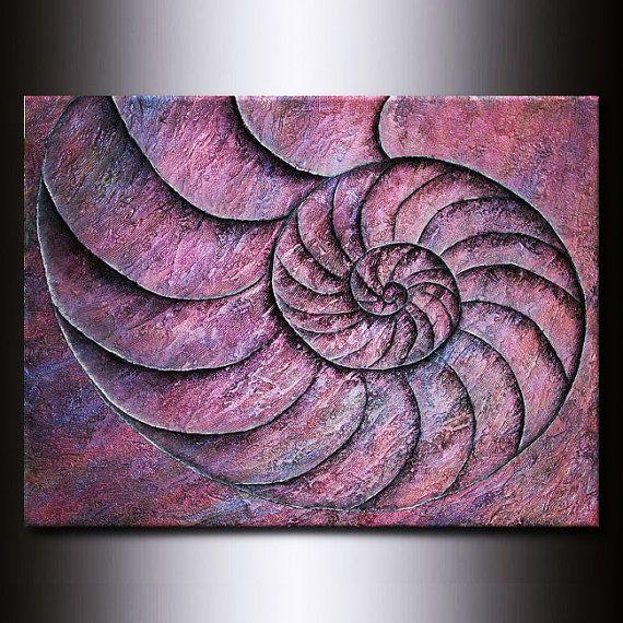 Fibonacci Nautilus Shell  Original Purple by JacquelineSwann, $810.00