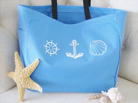 Nautical beach themed tote bag by SparkleandComfort | Original ...