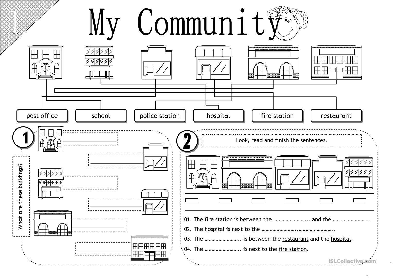 My Community Esl Worksheets Social Studies Worksheets 3rd Grade Social  Studies … in 2021   Social studies worksheets [ 1080 x 1527 Pixel ]