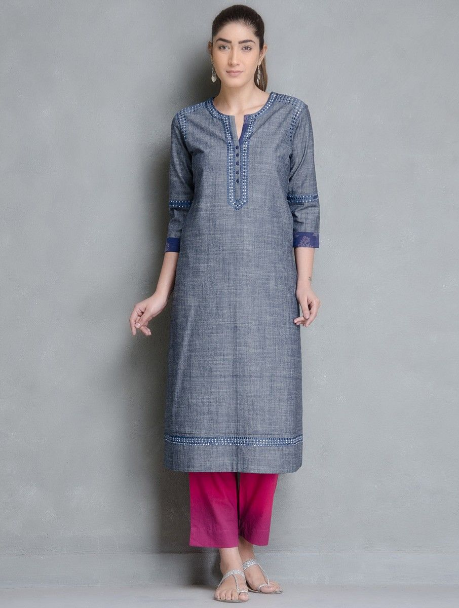 36a2df6686ea Buy Grey Blue Embroidered with Pocket Detailed Denim Kurta by Kora Online  at Jaypore.com