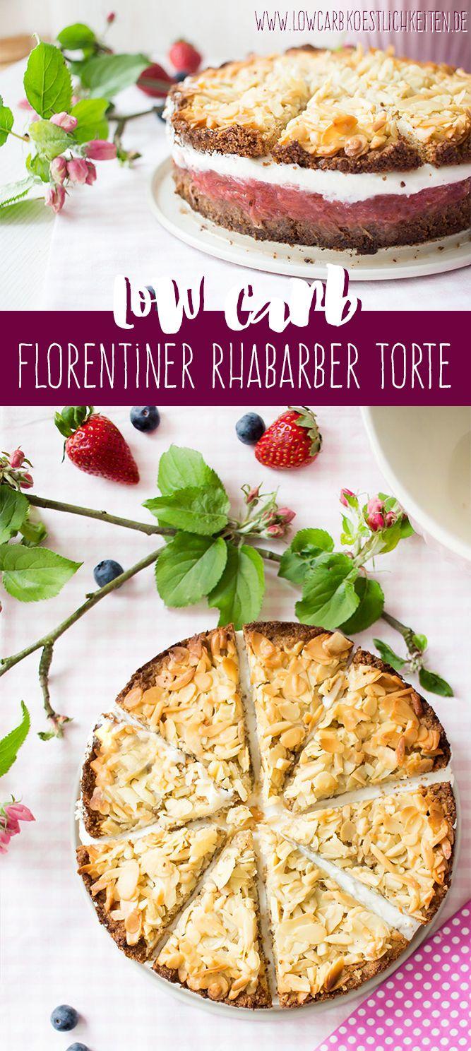 Low Carb Rhabarber Erdbeer Florentiner Torte Werbung Low Carb Platzchen Low Carb Dessert Und Lebensmittel Essen