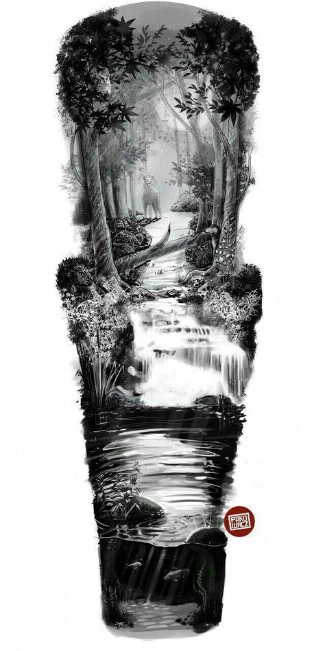 River sleeve tattoo design #tattoodesign Favorite Temporary