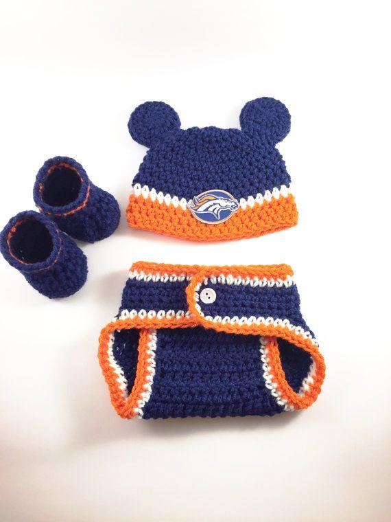 d4823c1e9 NFL Denver Broncos football newborn baby boy crochet hat