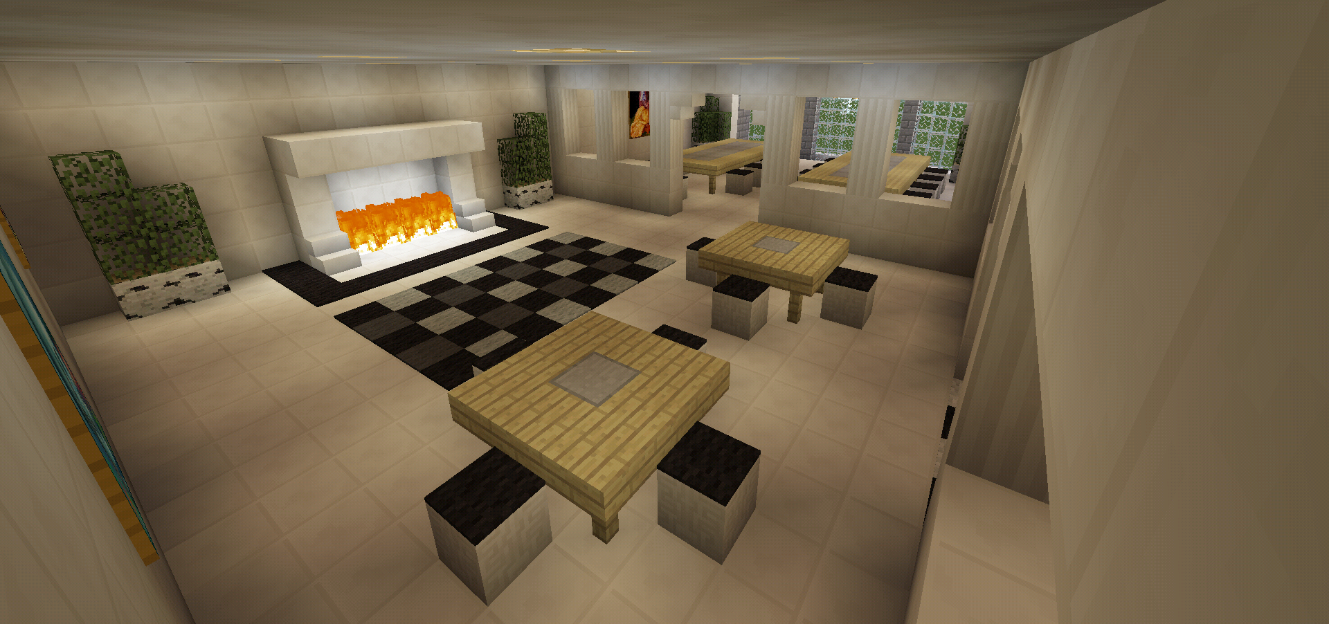 Minecraft breakfast nook dining table room hall fireplace for Dining room designs minecraft