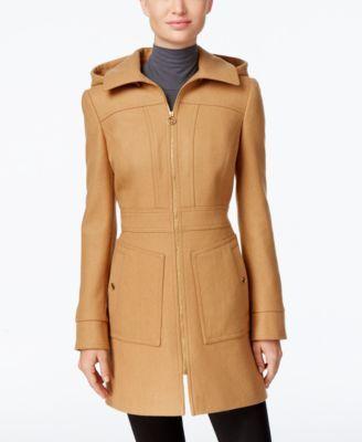 5661af895b8e9 MICHAEL KORS Michael Michael Kors Petite Hooded Wool-Blend Coat ...