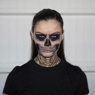 halloweenkara ashley design  skull makeup halloween