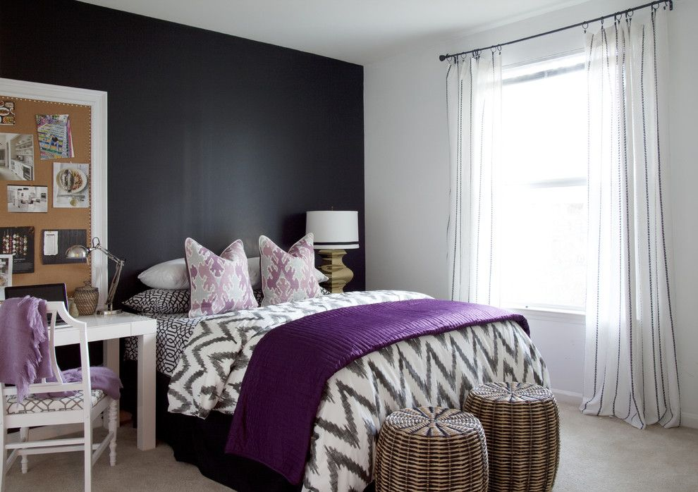 dark wall color scheme and purple bed furniture sets in small bedroom interior design ideas