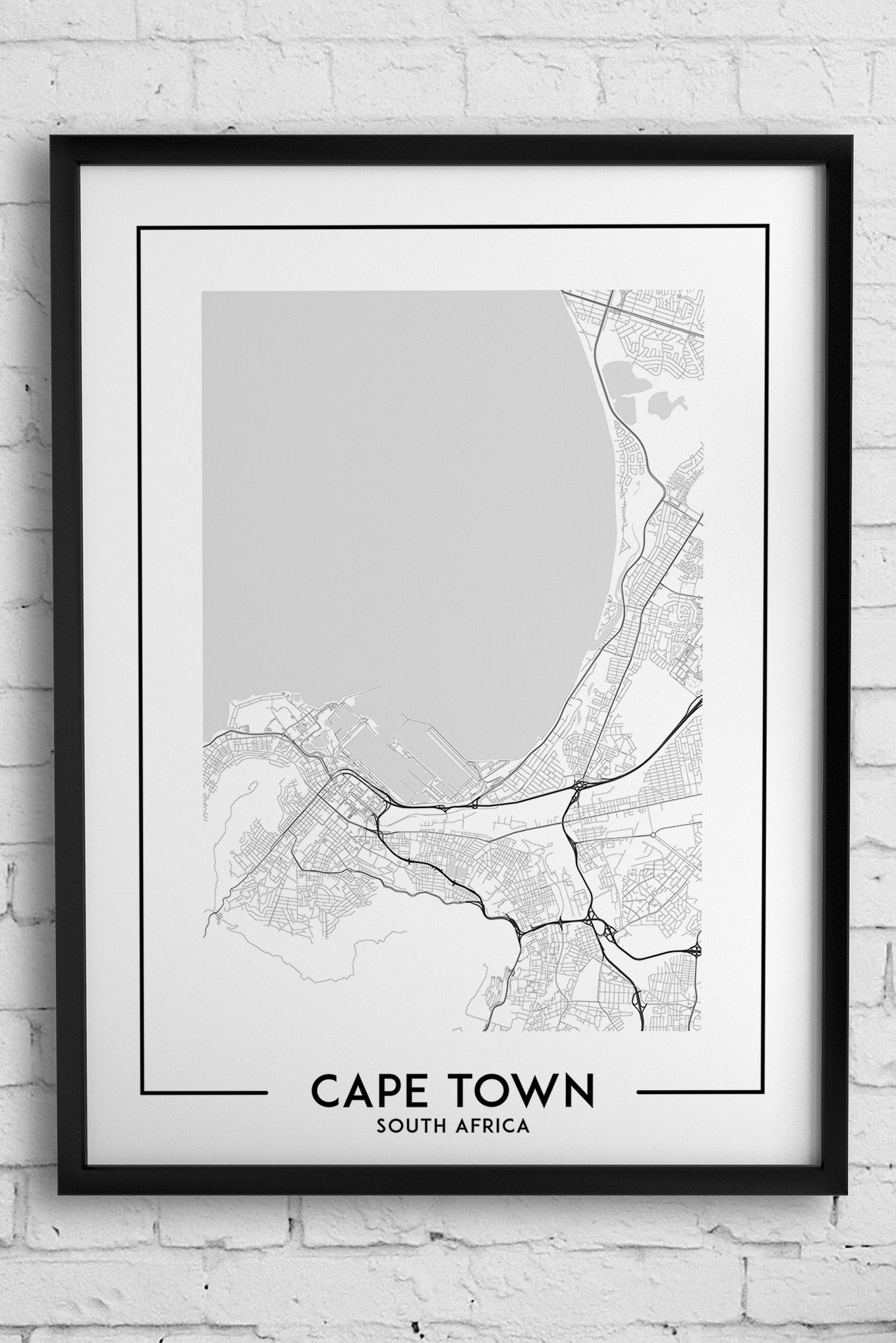 Cape Town South Africa Map Poster Black White Wall Decor Etsy Map Poster City Map Poster Map Wall Decor
