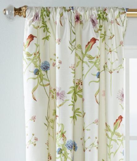 Sissinghurst Floral Lined Rod Pocket Curtains Pair Curtains