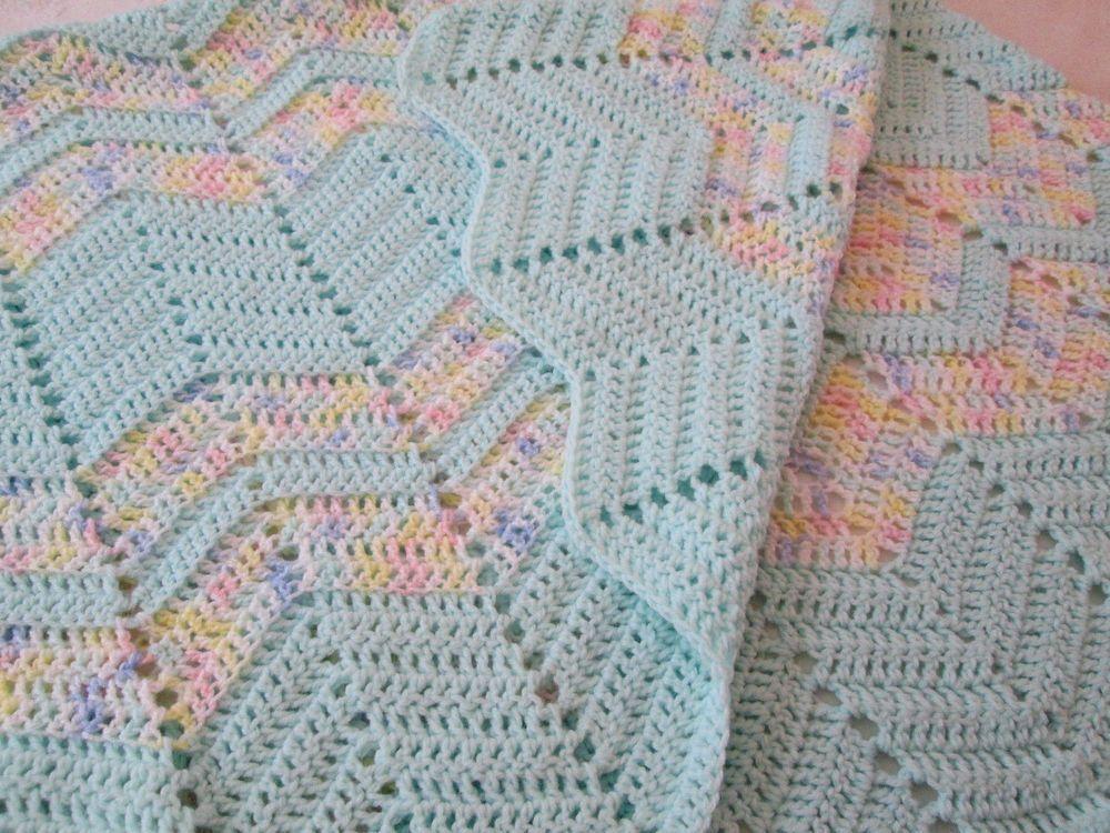 Throw Blanket Hand Crochet Chevron Pattern Mint Green 52 X 52