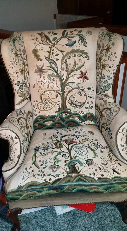 Crewel chair with Louise Chrimes patterns stitched by Beatrice K Williams (Mrs. William R. Williams) over 50 years ago.