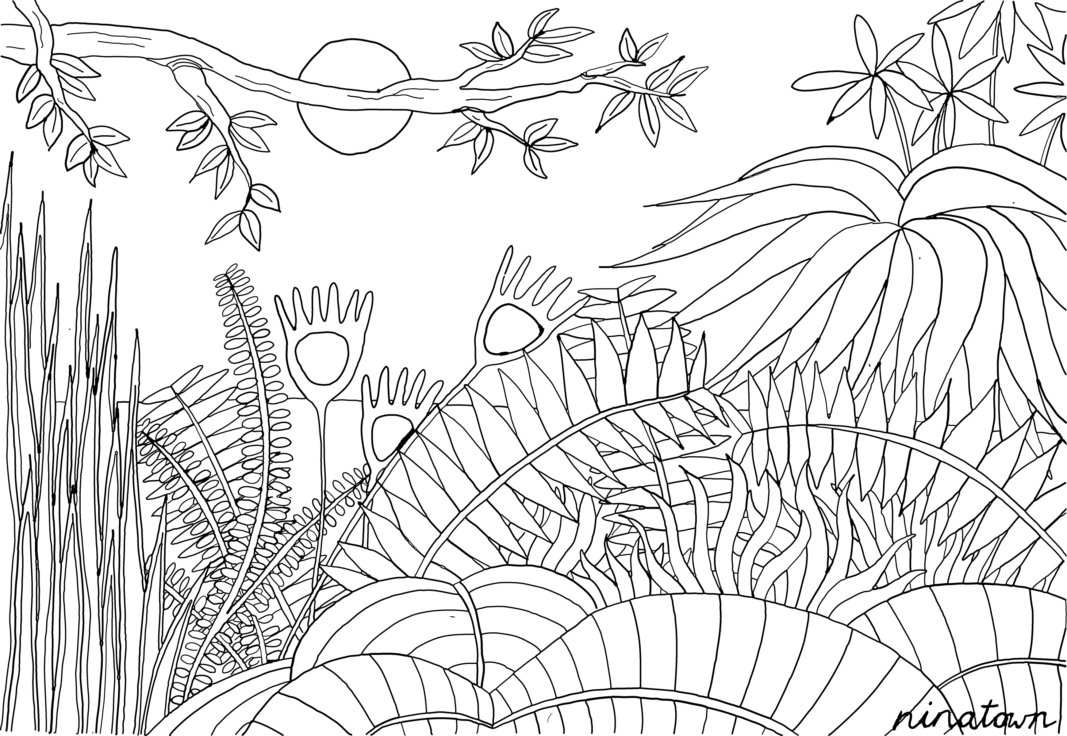 Kleurplaat Geinspireerd Op Het Werk Van Henri Rousseau Door Ninatown Henri Rousseau Jungle Art Jungle Illustration