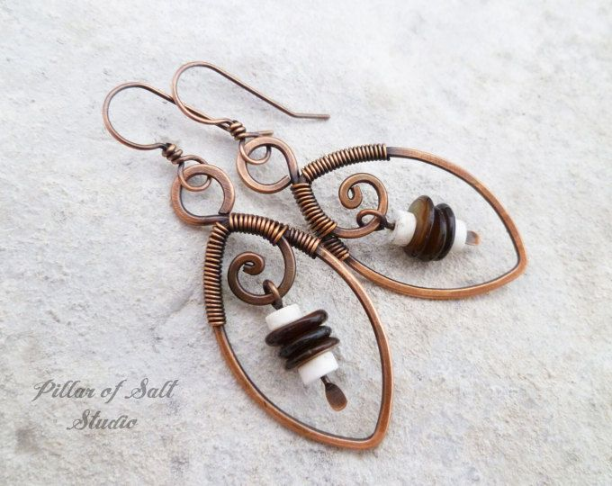 Leaf Wire wrapped earrings / Solid copper earrings / brown and white ...