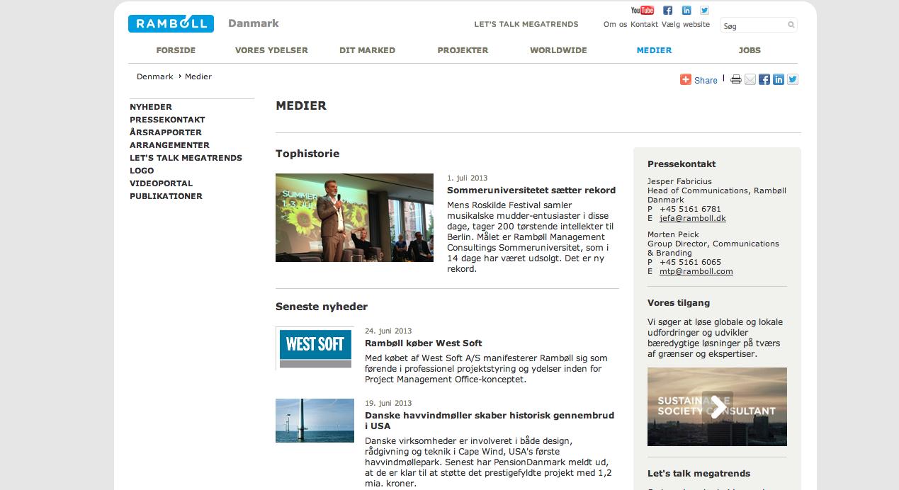 Vejen til videoportalen på hjemmesiden