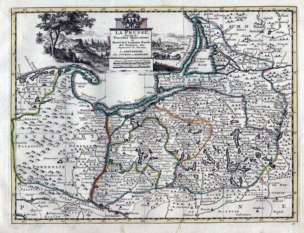 Königsberg Kaliningrad Karte.1735 Polen Poland Kaliningrad Lithuania Covens Mortier Karte Map