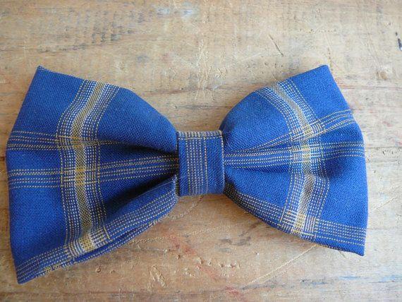 Blue Bow Tie Clip On Men Teen Unisex Bowtie by TheStripedPenguin