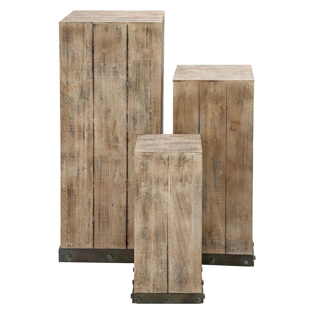 Wood Set Of 3 Square Pedestal Accent Tables Natural Olivia May White Modern Plant Stand Wood Pedestal Wood Plant Stand