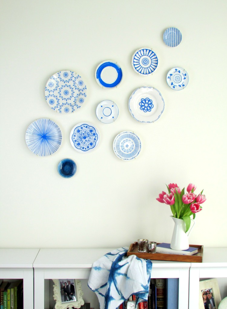 handpainted japanese ceramics inspired plates thrift store white plain plates blue sharpie plate wall decorwall - Decorative Wall Plates