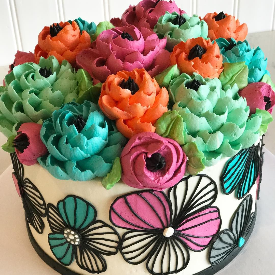 Love This Hand Piped Modern Beauty What Are Your Favorite Styles Of Cakes Comment And Tag A Friend Below For Chance To Win FREE Cake