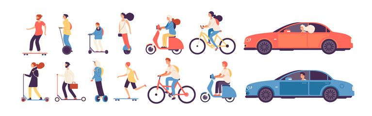 People riding. Man woman with electric vehicles ride motorbike skateboard scooter skate car bicycle roller gyroscooter vector set. Electric car and bicycle riding, vehicle and motorbike illustration – Buy this stock vector and explore similar vectors at Adobe Stock