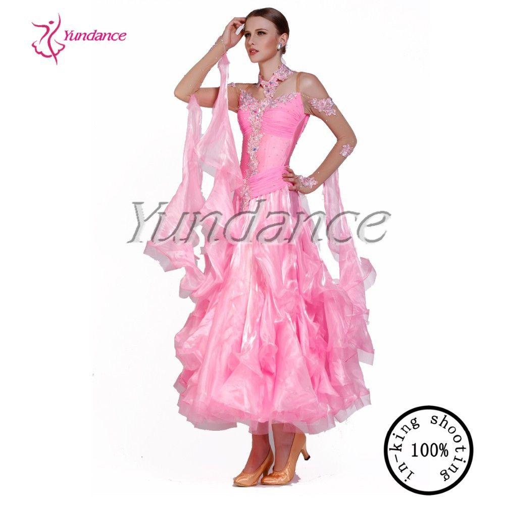 Long Sleeves Pink Ballroom Dance Dresses Woman Dance Dress B-10174 ...
