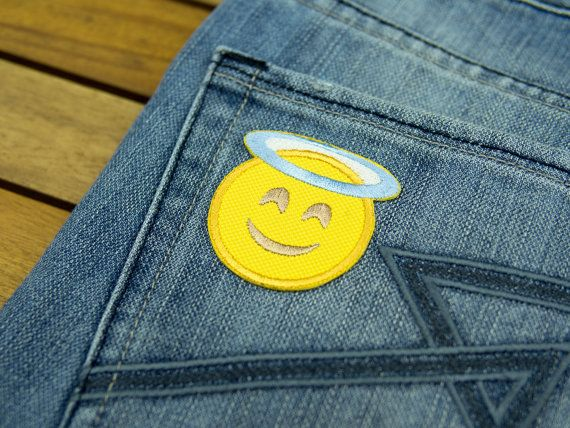 Smiling face with halo angel emoji embroidered iron on patch