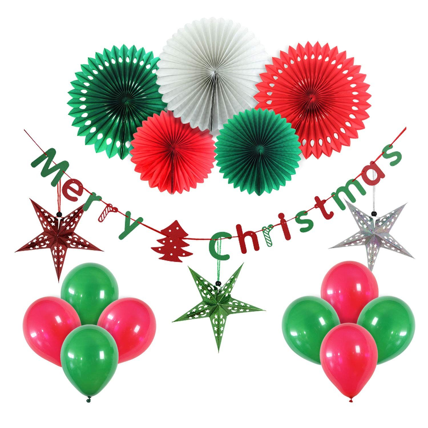 Christmas Party Decoration Set Of Hanging Tissue Paper Fans With Banner And Include Handmade Paper St Paper Party Decorations Christmas Banners Christmas Paper