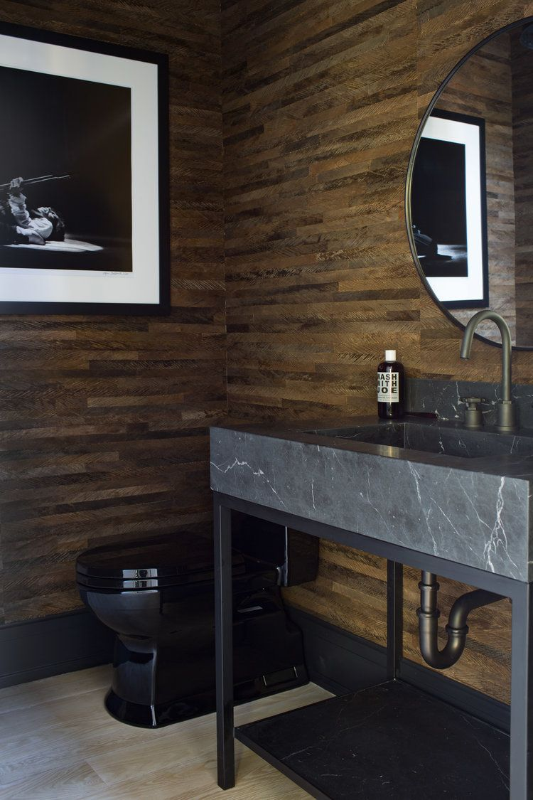 Black Marble Vanity Round Mirror Black Toilet Wood Paneled Walls Modern Powder Bath Black And White Photograph Elegant Bathroom Black Toilet Interior