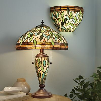 Explore stained glass lamps green leaves and more seventh avenue