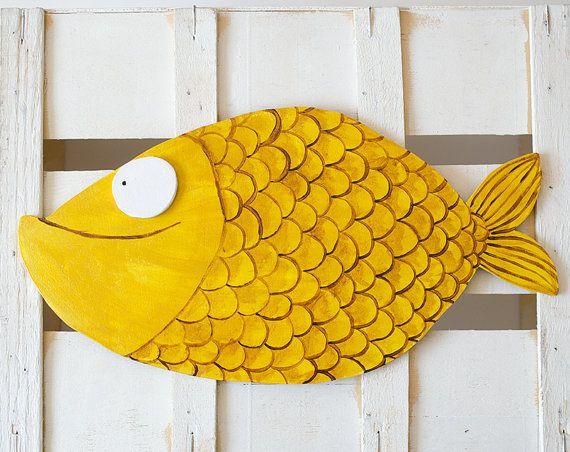 Kids wall decor, yellow fish shape wall art, yellow room decoration ...