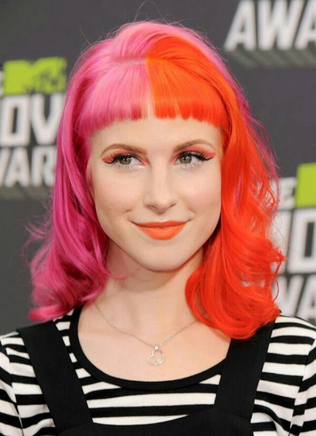 2 Tone W Bangs Edgy Haircuts Pink And Orange Hair Celebrity Hairstyles