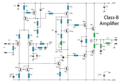 50W Class-B power amplifier circuit Schematic Diagram | Power ...