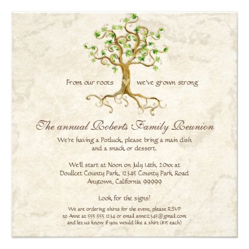 Family Tree Reunion Invitation-+ Card | Family Reunion Invitations