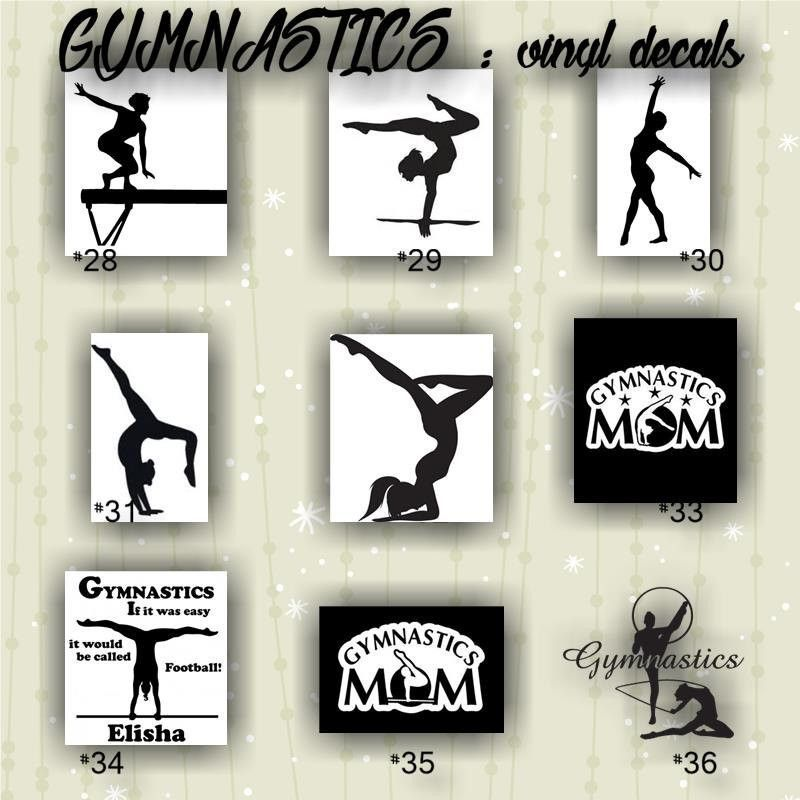 Gymnastics vinyl decals 28 36 custom car window stickers
