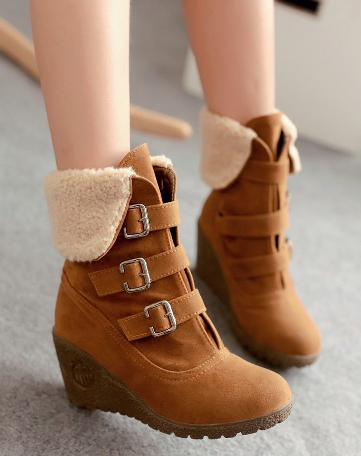 f0b89b6898d6 Platform Wedges Round Toe Buckle Turned- Over The Edge Ankle Nubuck Leather  Fashion Short Plush Boot on Luulla