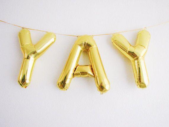 yay letter balloons gold foil mylar letter balloons balloon banner kit only