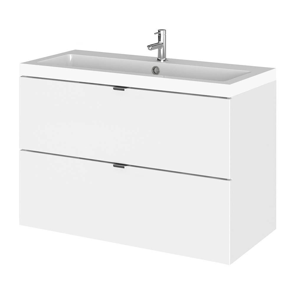 Hudson Reed Fusion 800mm Gloss White Full Depth Wall Hung 2 Drawer Unit Basin In 2020 Drawer Unit Basin White Vanity Unit
