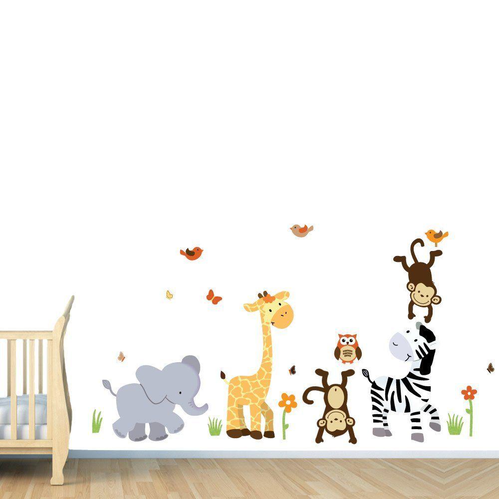 Decoration Wall Decorating Ideas Awesome Nursery Decals With Animal Decor Gray Elephant Yellow Giraffe Brown Monkey White Black Zebra Light Wooden