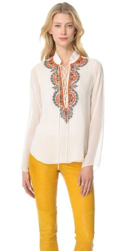 Renzo + Kai Lace Up Embroidered Blouse from http://ethniceclectic.com