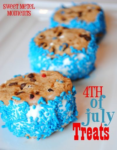 4th of July ice cream cookie sandwiches