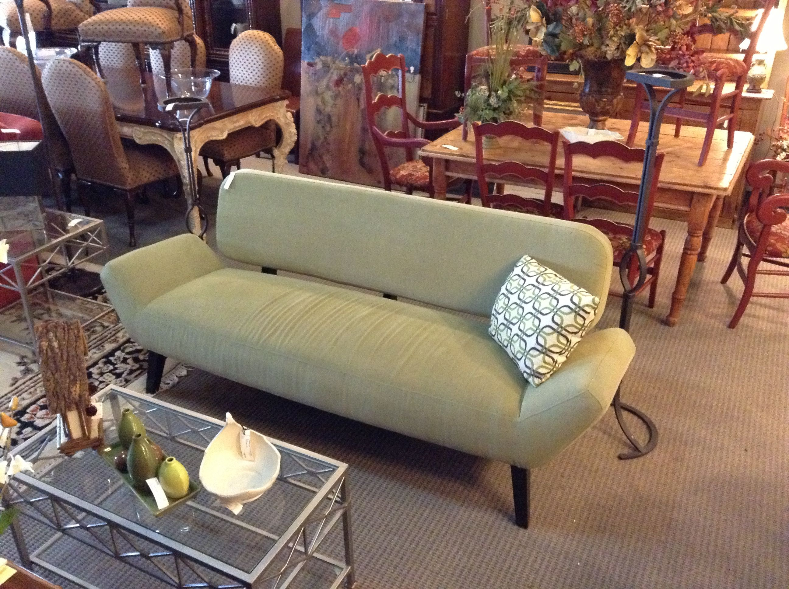 Olive Green Contemporary Sofa Found At Design With Consignment In Austin,Texas.  I Gotta