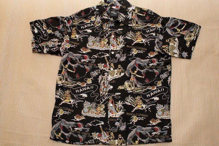 0569d24c ... 'Sun Surf' 'Avanti' etc. Hawaiian Aloha Dresses & Shirts by betty. Kona  Bay LAND OF ALOHA (Black) rayon