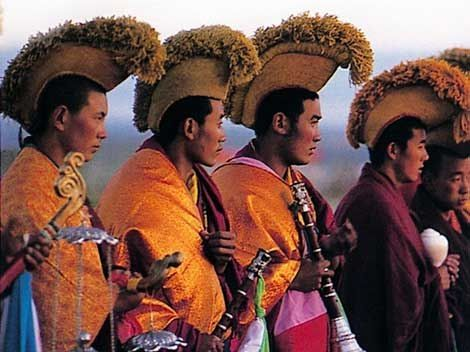 Ceremonies   Rituals ~ Tibetan Buddhism  and it s amazing to me how much  this headwear looks like those worn in Hawaii 185a6ade086