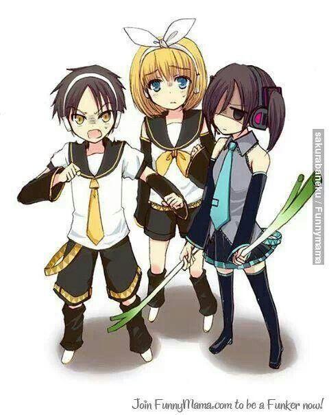 Eren, Armin, and Mikasa (Attack on Titan) dressed like Vocaloids <<< Eren-Len Armin-Rin Mikasa-Miku
