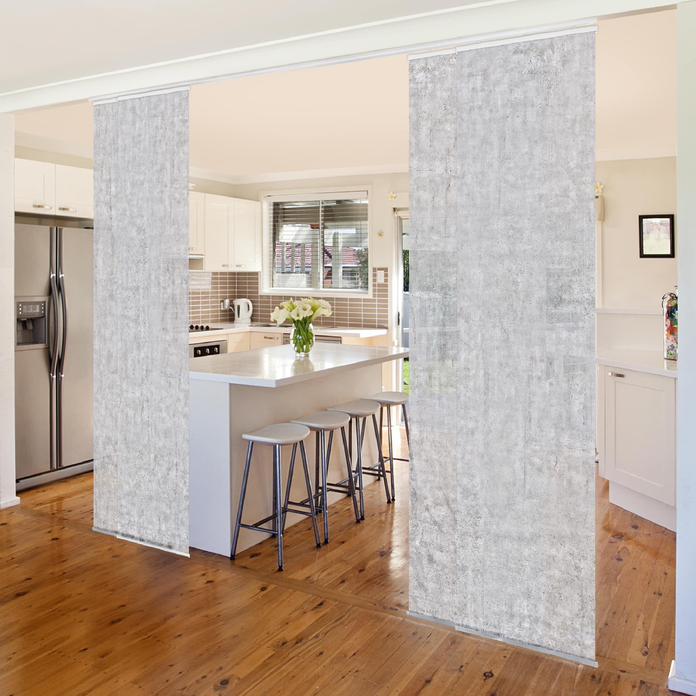 Tende A Pannello Con Binario Scorrevole.Tende Scorrevoli Set Concrete Cire Wallpaper 4 Pannelli